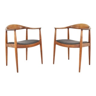 Hans Wegner Round Chair/The Chair by Johannes Hansen- A Pair For Sale