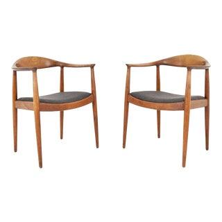 Pair of Hans Wegner Round Chair/The Chair by Johannes Hansen