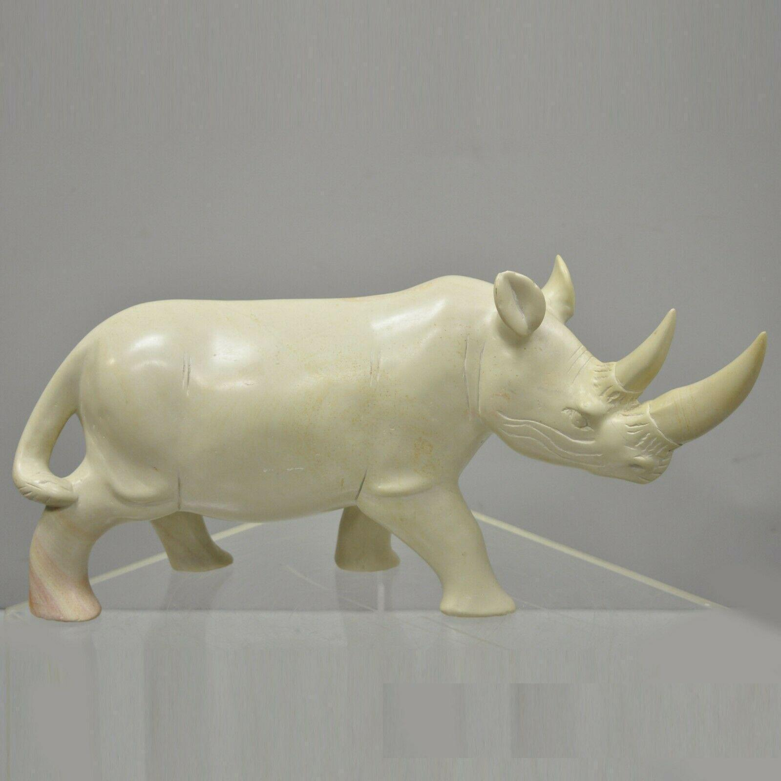 Blue Figurine Sculpture 2 Inches Height x 3 Inches Long Soapstone African Rhino SS22 Handmade in Kenya