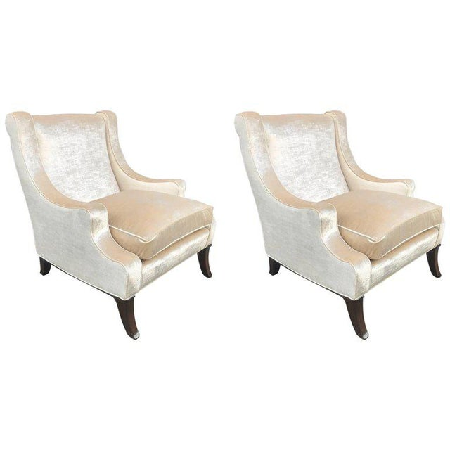 Pair of Velvet Lounge Chairs For Sale In New York - Image 6 of 6