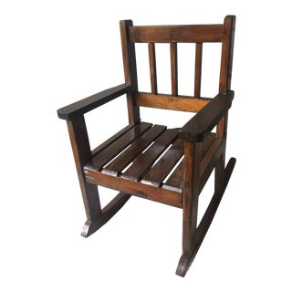 Early 20th Century Craftsman Style Child's Rocking Chair For Sale