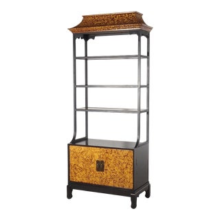 Monumental Faux Tortoise & Iron Pagoda Cabinet Etagere For Sale