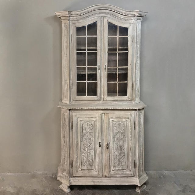 19th Century Country French Louis XVI Stripped Bookcase ~ Vitrine For Sale - Image 13 of 13