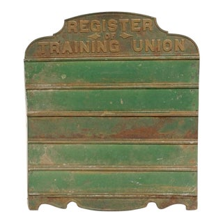 1930's Antique Register of Training Union Sign For Sale