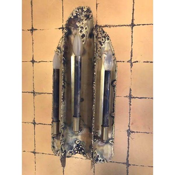 Tom Greene for Feldman Brutalist Period Torch Cut Sconces - a Pair - Image 2 of 5