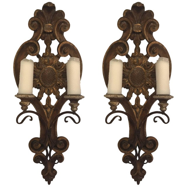 Italian Hand-Carved Candle Sconces - A Pair For Sale
