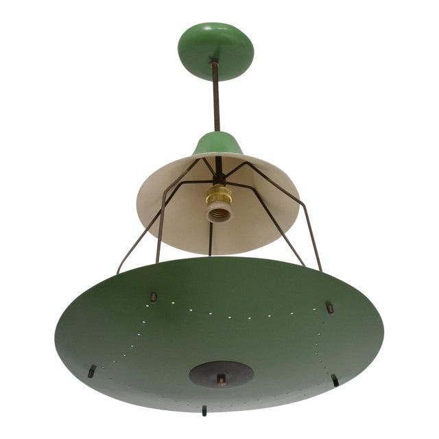 1950s Mid-Century Modern Pistachio Green Tiered Italian Chandelier Lamp, Italy For Sale