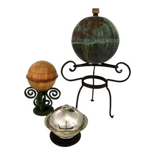Collection of Orb Objects on Stands as Centerpiece or Object D 'Art For Sale