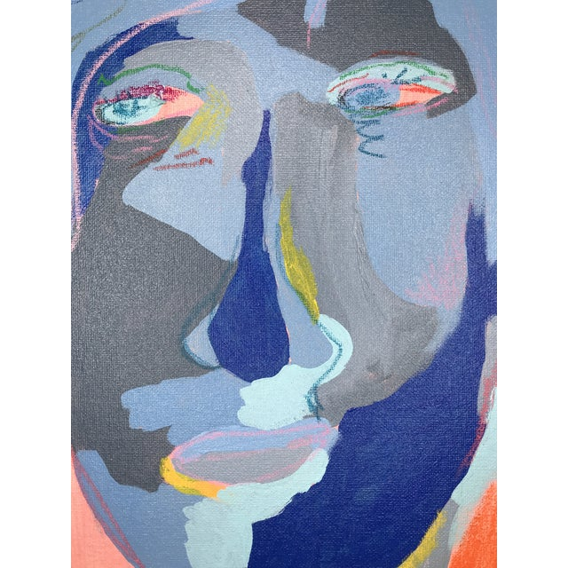 """Early 21st Century Contemporary Abstract Portrait Painting """"Is He Ready to Go - No. 3"""" - Framed For Sale - Image 5 of 12"""