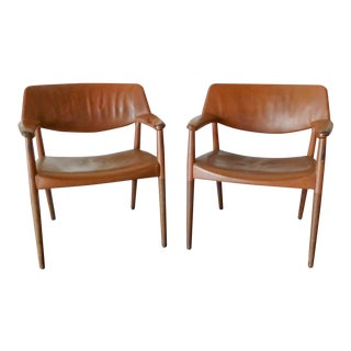 Brown Leather Arm Chairs by Ejner Larsen & Aksel Bender Madsen For Sale