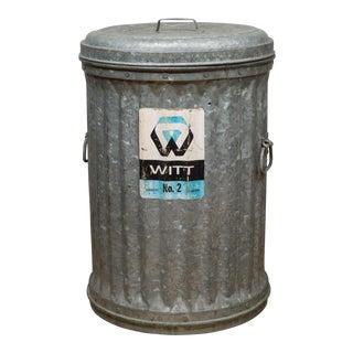 "Antique Galvanized Steel ""Witt No. 2"" Waste Can C.1910 For Sale"