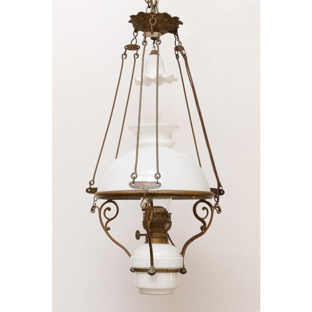 1900 - 1909 Antique French Milk Glass Hall Lantern For Sale - Image 5 of 11
