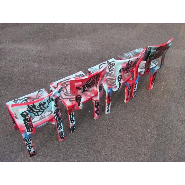Graffiti Painted Children's Thonet Chairs - Set of 4 - Image 6 of 11