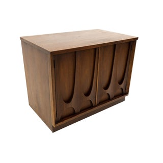 Mid Century Modern Broyhill Brasilia Media Cabinet Record Holder Nightstand For Sale