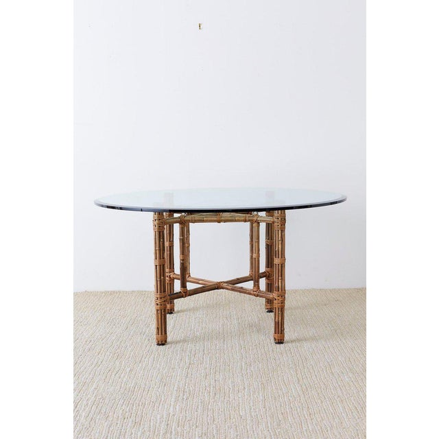 Late 20th Century McGuire Organic Modern Bamboo Rattan Round Dining Table For Sale - Image 5 of 13