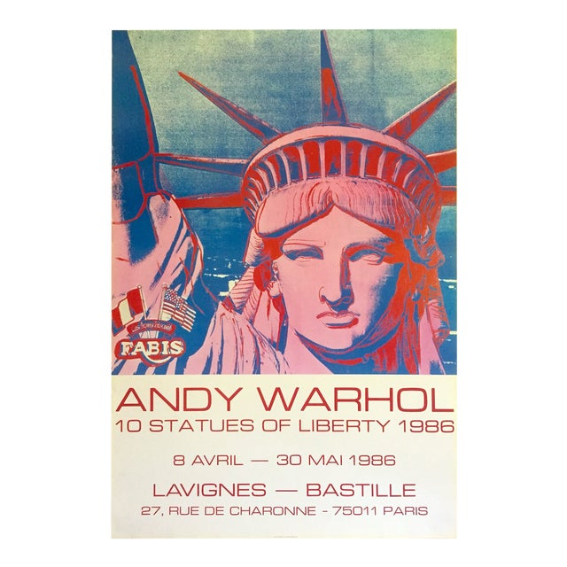 """Andy Warhol Rare 1986 Lithograph Print Paris Exhibition Poster """" 10 Statues of Liberty """" For Sale"""