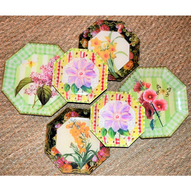 1990s Botanical & Butterfly Decoupage Plates - Set of 6 For Sale - Image 5 of 10