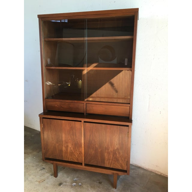 Vintage Mid Century Modern Walnut China Hutch Cabinet By