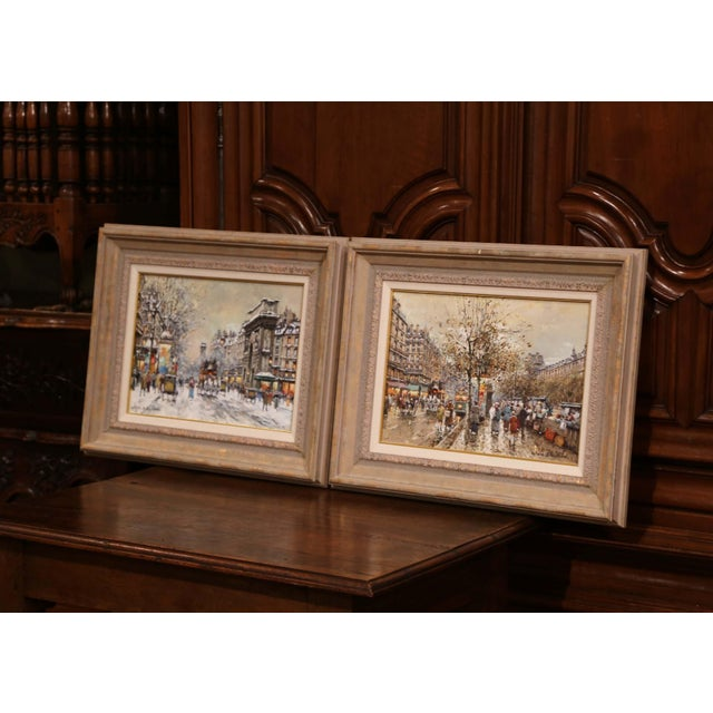 Mid 20th Century Pair of Framed Oil on Canvas Parisian Street Scenes Signed Antoine Blanchard For Sale - Image 5 of 13