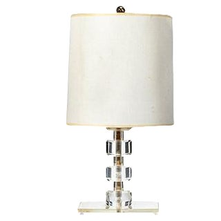 1950s Lucite Round Stacked Table Lamp For Sale