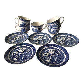 Johnson Brothers Chinoiserie Blue and White Tea Cup and Saucers - 10 Pc Set For Sale