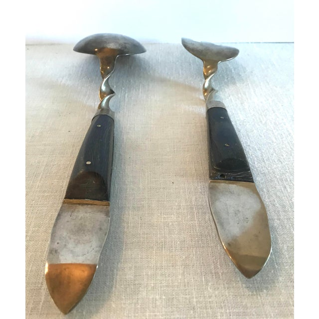 Gold Vintage Brass and Rosewood Serving Set For Sale - Image 8 of 11