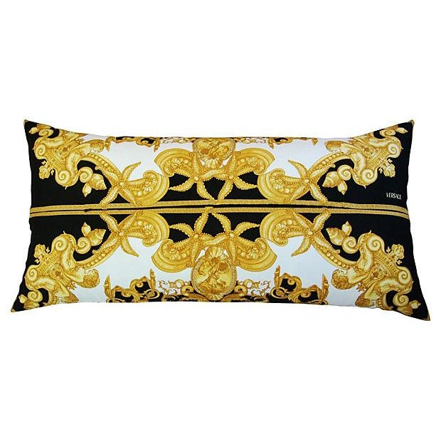 Large Designer Versace Silk Aquatic Baroque Pillow For Sale - Image 7 of 9