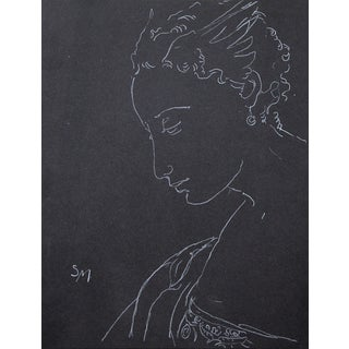 "Figurative Sarah Myers ""Night"" White Charcoal Drawing For Sale"