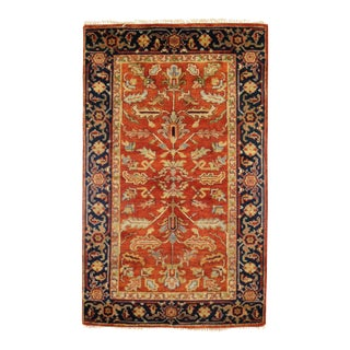 "Traditional Pasargad N Y Fine Serapi Design Hand-Knotted Rug - 3'1"" X 5'"