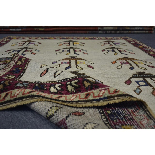 "Vintage Turkish Anatolian Decorative Rug - ′3'10""x4'6"" For Sale - Image 9 of 10"