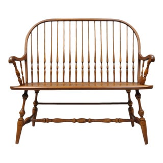 Solid Oak Windsor Spindle Back Bench For Sale