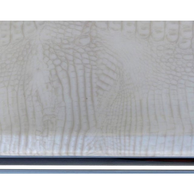 Lacquer 1980s Stainless Steel Cocktail Table with Lacquered Snakeskin Finish Marble Top For Sale - Image 7 of 9