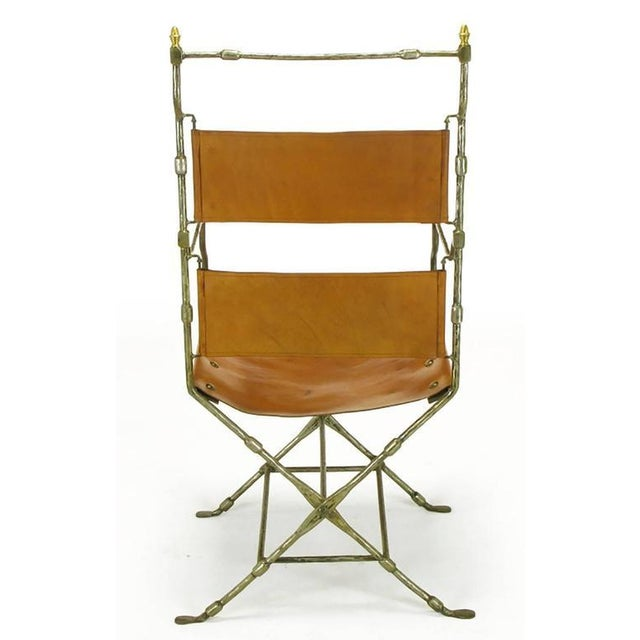 Italian Four Custom Leather and Hand-Forged Iron X-Base Sling Chairs For Sale - Image 3 of 10