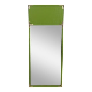 Apple Green Asian Style Mirror With Brass Accents For Sale