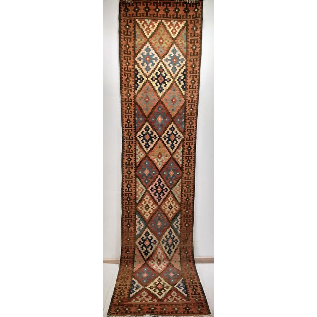 Persian Flat Woven Kilim Runner - 2′10″ × 12′3″ For Sale - Image 11 of 13