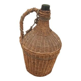 Vintage Wicker Wrapped Green Demijohn Bottle For Sale