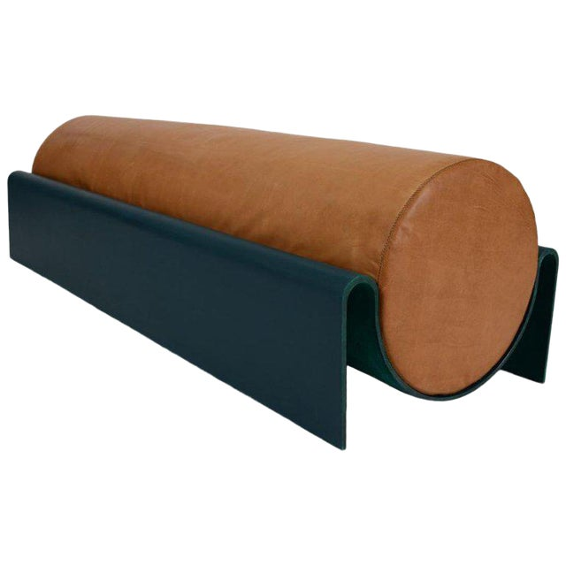 Asa Pingree Monitor Fiberglass Upholstered Bench in Leather, Limited Edition of 10 For Sale