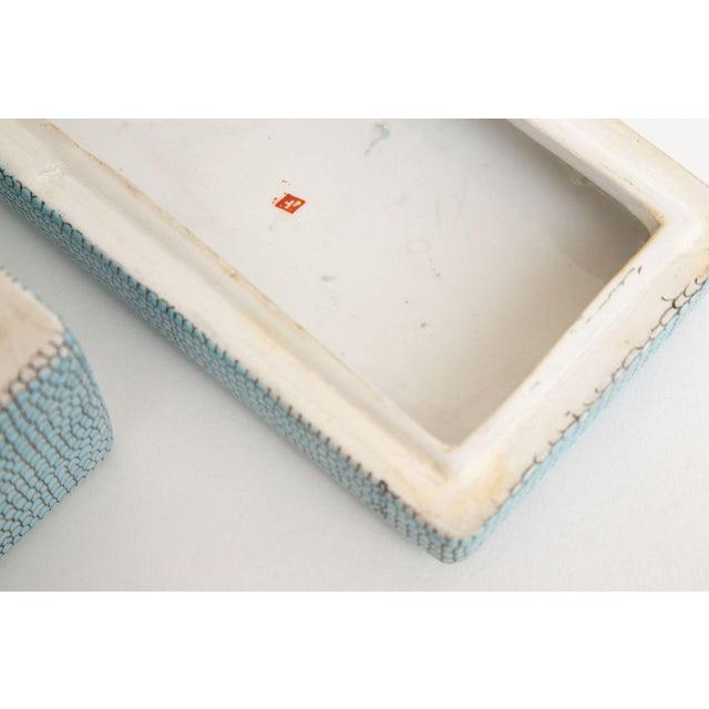 Turquoise Turquoise Robins Egg Blue Snakeskin Glazed Porcelain Lidded Box For Sale - Image 8 of 13