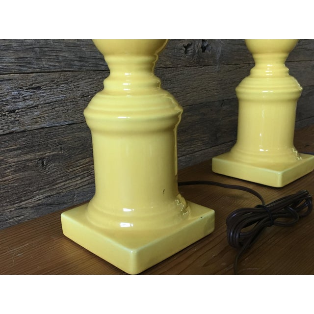 Vintage Yellow Table Lamps - A Pair For Sale - Image 9 of 11