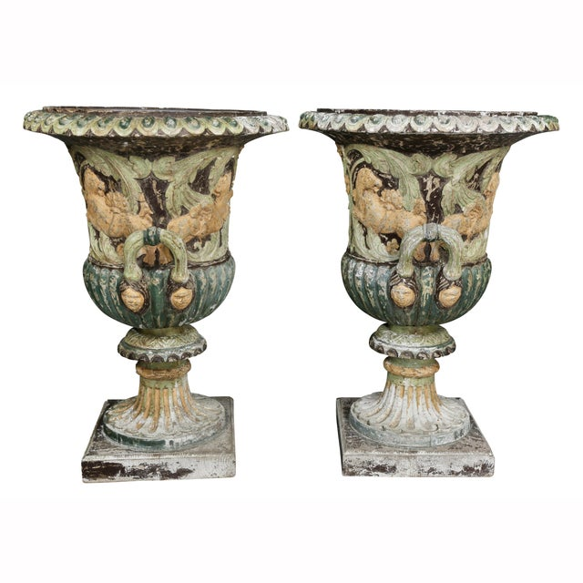 Gray Pair of European Carved and Painted Wood Campagna Form Urns For Sale - Image 8 of 13