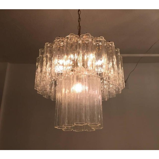 Brass Mid-Century Italian Tronchi Glass Chandelier For Sale - Image 7 of 7