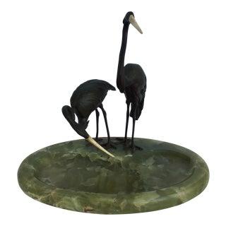 Bronze Stork on Onyx Bowl Base For Sale