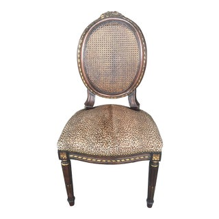 Louis XV Side Chair With Cane & Leather Leopard Print Fabric For Sale