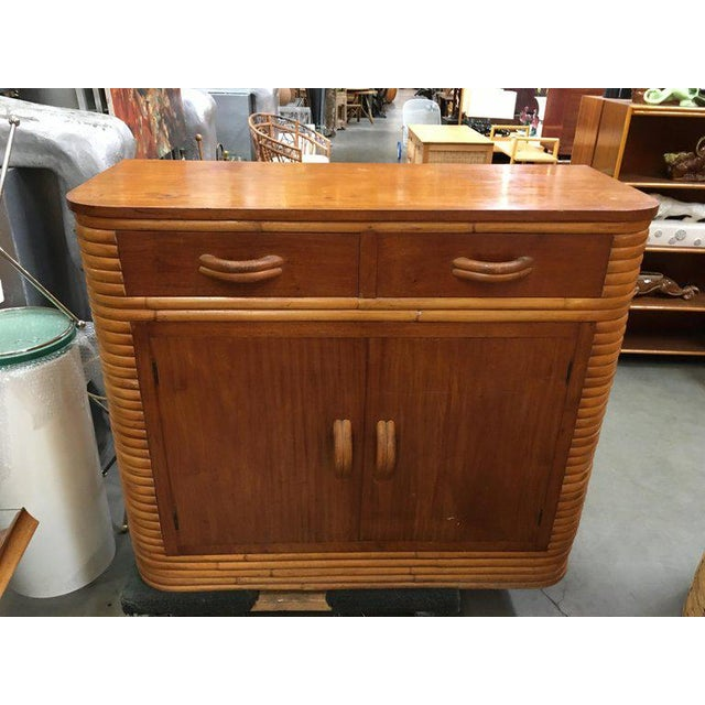 Mid-Century Modern Restored Stacked Rattan Storage Cabinet With Mahogany Top For Sale - Image 3 of 6
