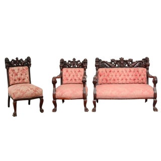 Early 20th Century Vintage S. Karpen & Bros. Renaissance Revival Mahogany Parlor Set- 3 Pieces For Sale