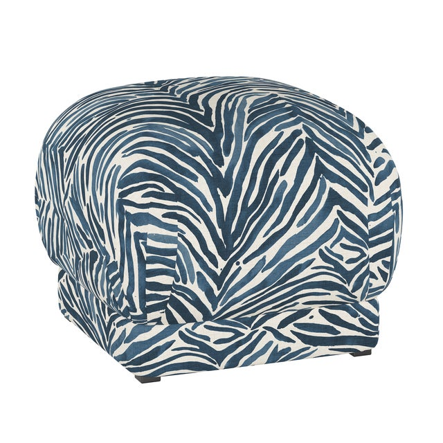 Ottoman, Washed Zebra Blue For Sale In Chicago - Image 6 of 6