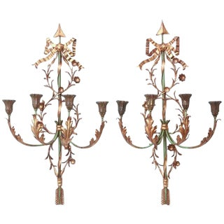 Pair of Italian Painted and Gilded Iron Foliate Sconces For Sale