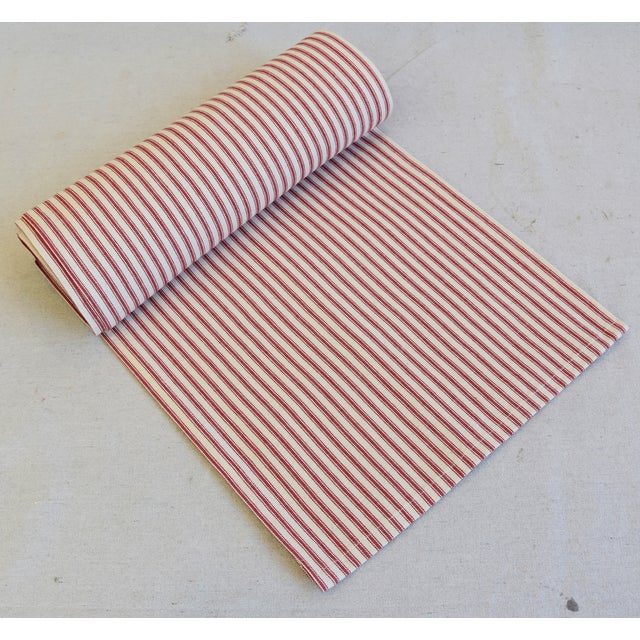"Cotton French Country Red & Ivory Ticking Table Runner 109"" Long For Sale - Image 7 of 7"