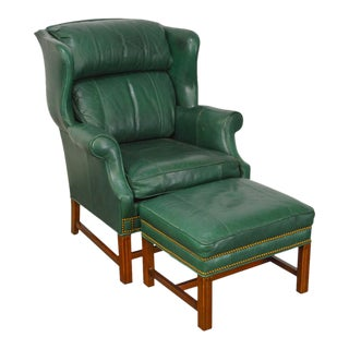 Whittemore Sherrill Chippendale Style Green Leather Wing Chair w/ Ottoman For Sale