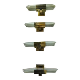 Mid-Century Modern Brass and Glass Wall Sconces - Set of 4